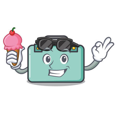 With ice cream suitcase character cartoon style