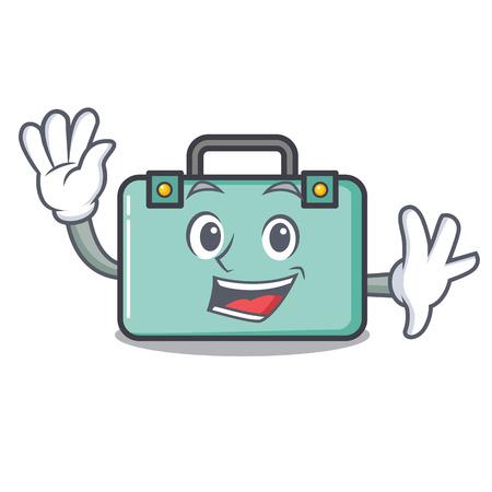 Waving suitcase character cartoon style Illustration