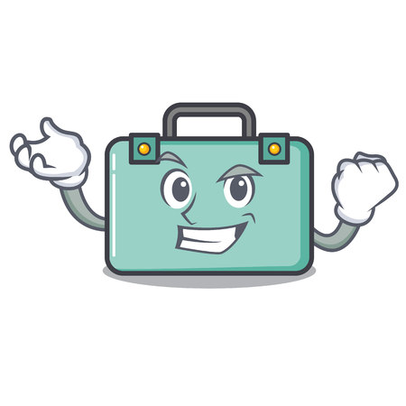 Successful suitcase character cartoon style Illustration