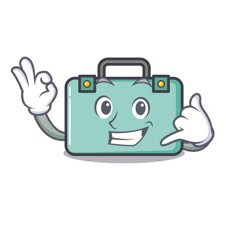 Call me suitcase mascot cartoon style vector illustration
