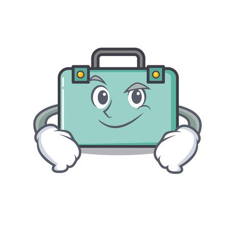 Smirking suitcase character cartoon style vector illustration