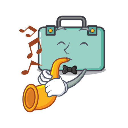 With trumpet suitcase mascot cartoon style vector illustration Illustration