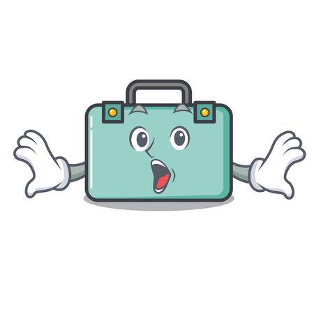 Surprised suitcase mascot cartoon style