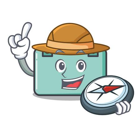 Adventurer suitcase mascot cartoon style vector illustration Illustration