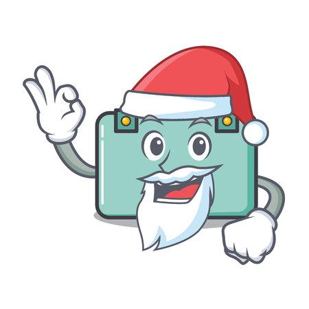 Santa suitcase mascot cartoon style vector illustration.