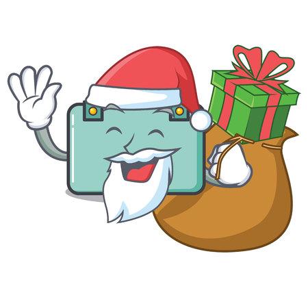 Santa with gift suitcase mascot cartoon style vector illustration. Illustration