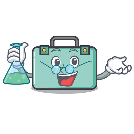 Professor suitcase character cartoon style
