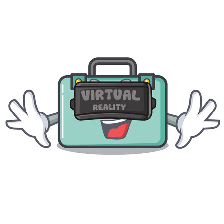 Virtual reality suitcase mascot cartoon style Illustration