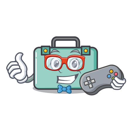 Gamer suitcase mascot cartoon style