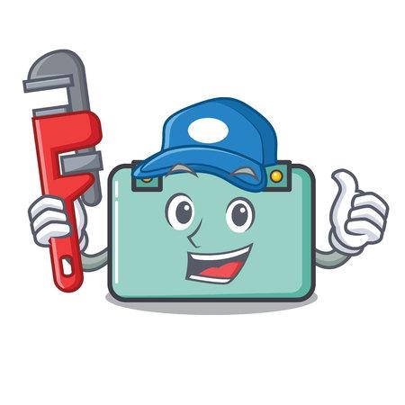 Plumber suitcase mascot cartoon style
