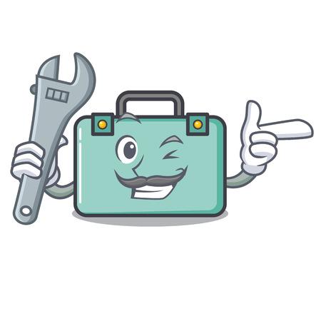 Mechanic suitcase mascot cartoon style vector illustration Illustration