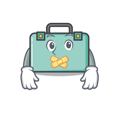 Silent suitcase mascot cartoon style