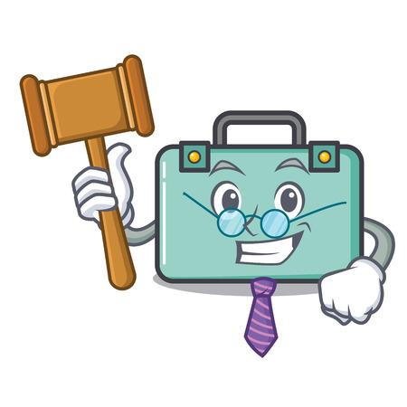 Judge suitcase mascot cartoon style