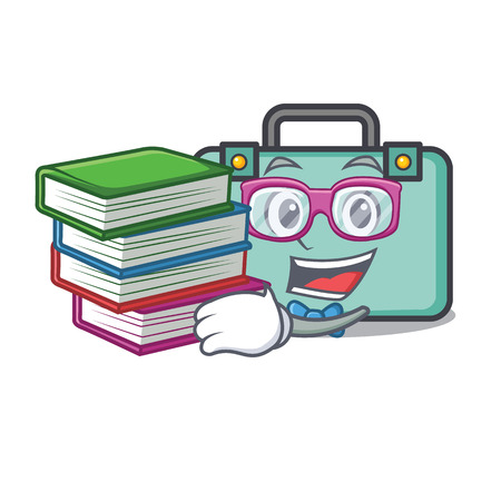 Student with book suitcase mascot cartoon style