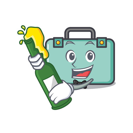 With beer suitcase mascot cartoon style Illustration