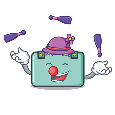 Juggling suitcase mascot cartoon style vector illustration