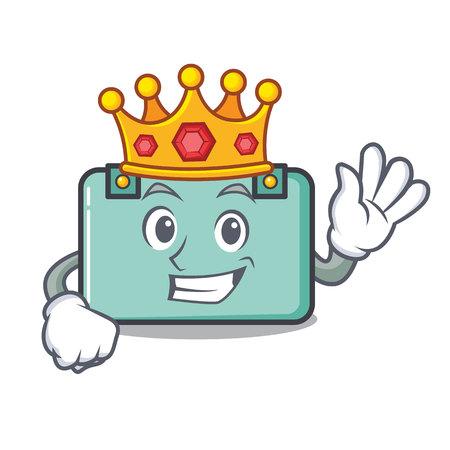 King suitcase mascot cartoon style vector illustration Illustration