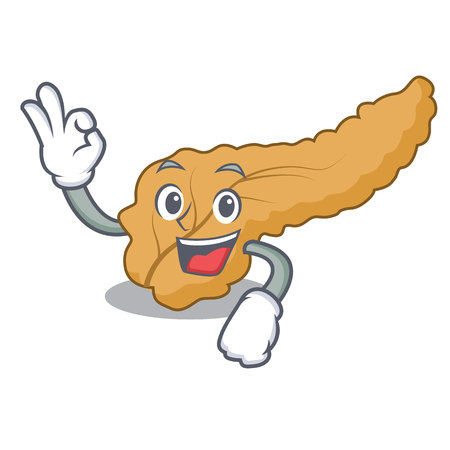 Okay pancreas character cartoon style vector illustration Illustration