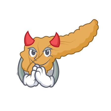 Devil pancreas mascot cartoon style vector illustration Illustration