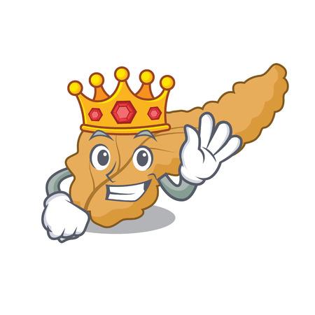 King pancreas mascot cartoon style vector illustration
