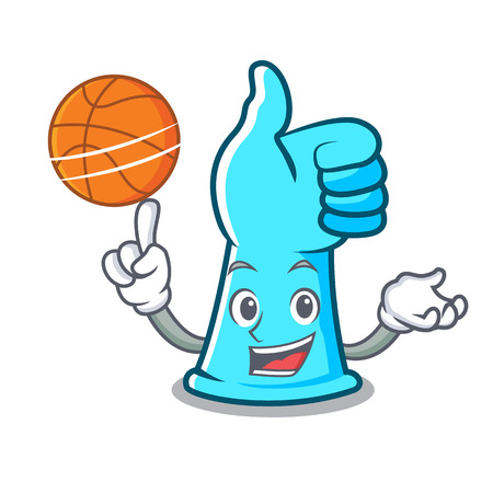 With basketball rubber gloves character cartoon vector illustration