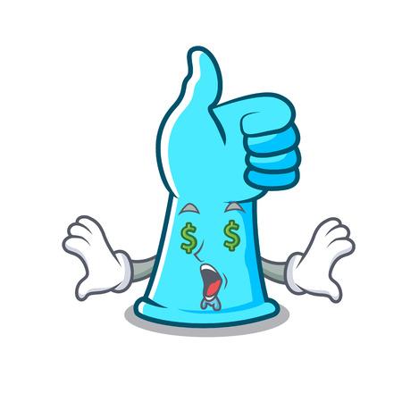 Money eye rubber gloves mascot cartoon vector illustration