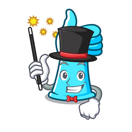 Magician rubber gloves mascot cartoon vector illustration