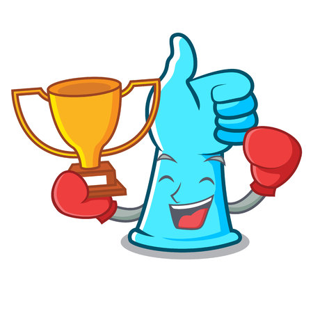 Boxing winner rubber gloves mascot cartoon vector illustration