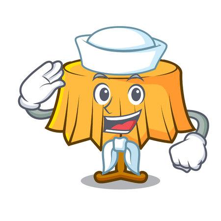 Sailor table cloth character cartoon vector illustration.