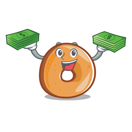 With money bag bagels mascot cartoon style vector illustration