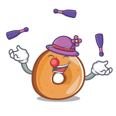 Juggling bagels mascot cartoon style vector illustration