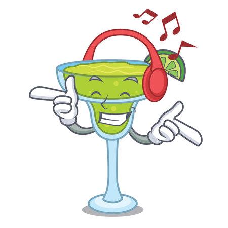 Listening music margarita mascot cartoon style vector illustration Illusztráció