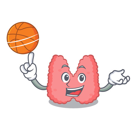 With basketball thyroid character cartoon style