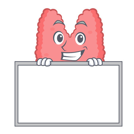Grinning with board thyroid character cartoon style