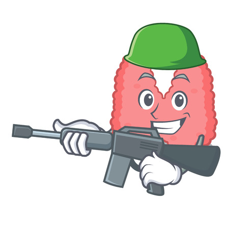 Army thyroid character cartoon style Vectores