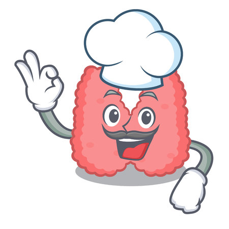 Chef thyroid character cartoon style