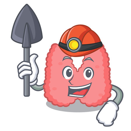Miner thyroid mascot cartoon style Illustration