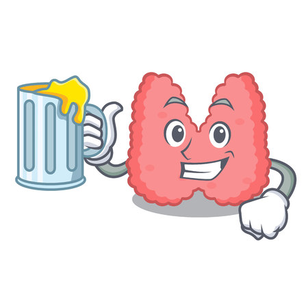 With juice thyroid mascot cartoon style