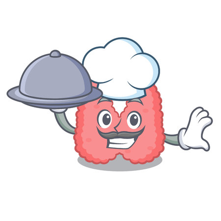 Chef with food thyroid mascot cartoon style 向量圖像