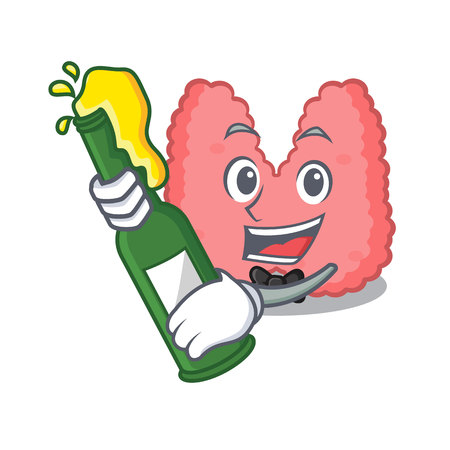 With beer thyroid mascot cartoon style vector illustration