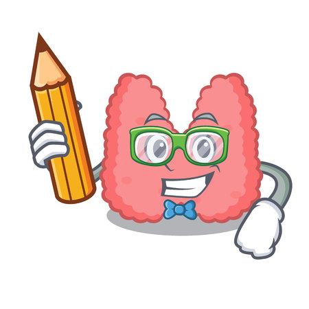 Student thyroid character cartoon style vector illustration Illustration