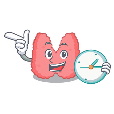 With clock thyroid character cartoon style vector illustration