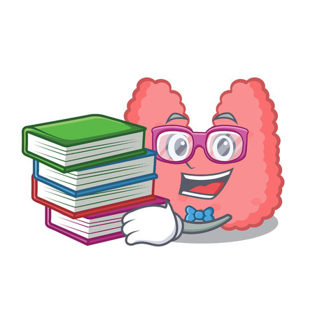 Student with book thyroid mascot cartoon style vector illustration