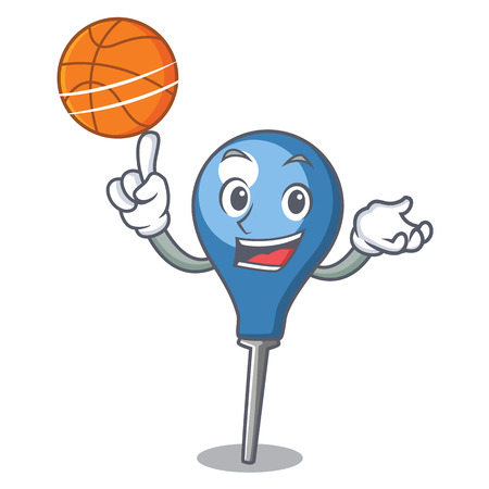 With basketball clyster character cartoon style Illustration