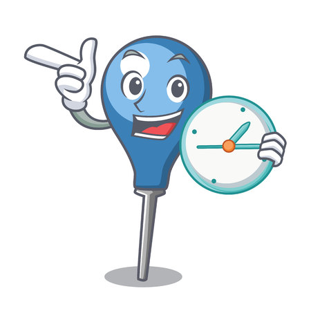 With clock clyster character cartoon style