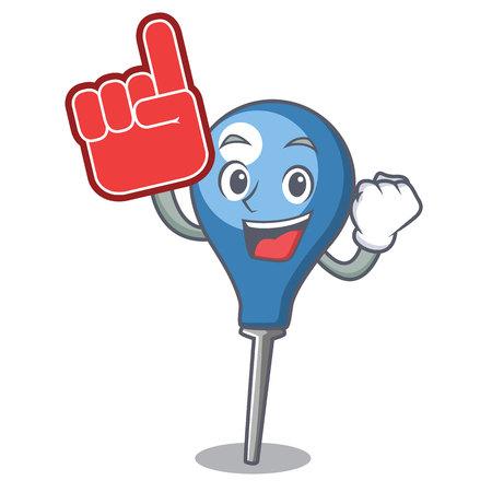 Foam finger clyster mascot cartoon style