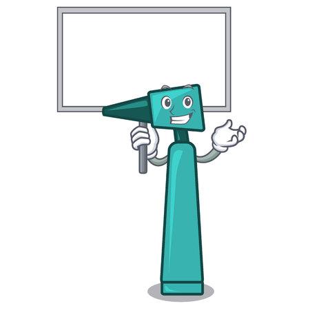 Bring board otoscope character cartoon style vector illustration