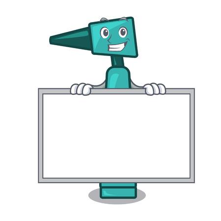 Grinning with board otoscope character cartoon style vector illustration Standard-Bild - 101347081