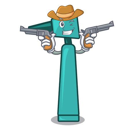 Cowboy otoscope character cartoon style vector illustration Illustration