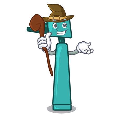 Witch otoscope mascot cartoon style vector illustration